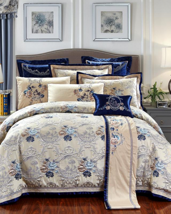 Oriental Jacquard Luxury Bedding Set (600 TC) - Roomie Design