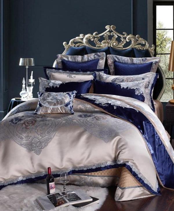 Majestic Blue Duvet Cover Set (1000 TC) - Roomie Design
