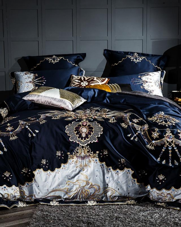 Royal Blue Duvet Cover Set (Egyptian Cotton, 1000 TC) - Roomie Design