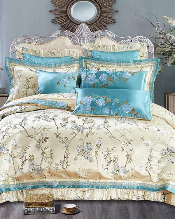 Malia Contrasting Embriodered Cotton Satin Duvet Cover Set - Venetto Design
