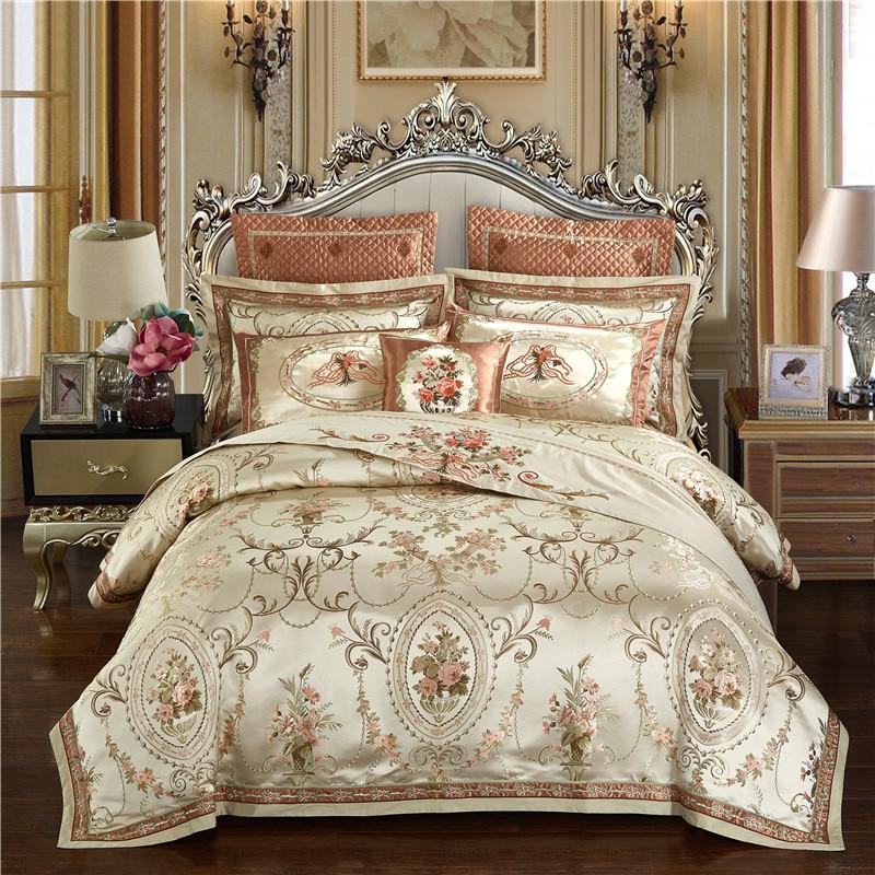 Deoniso Gold Luxury Satin Jacquard Duvet Cover Set - Venetto Design1 / King size 4pcs