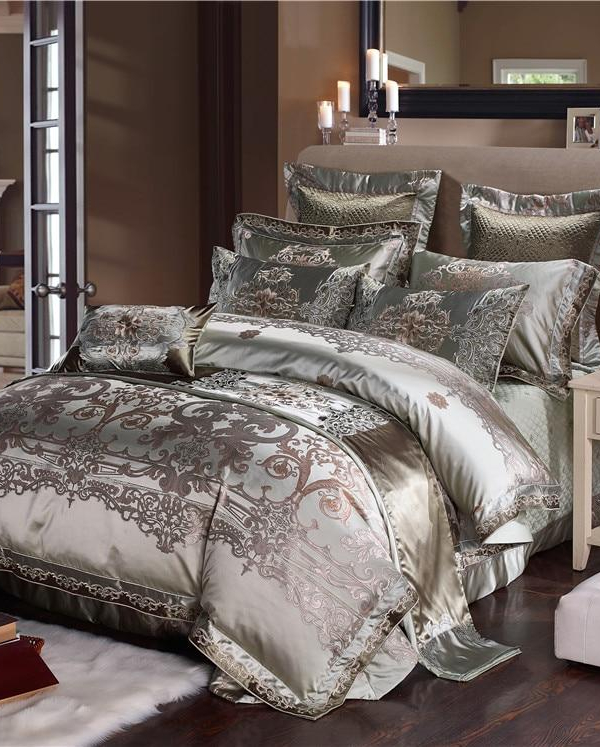 Alozia Silk Cotton Satin Jacquard Luxury Chinese Duvet Cover Set - Venetto Design1 / King size 10pcs